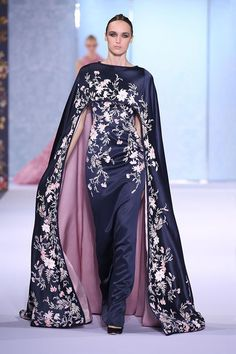 Midnight blue silk double satin gown with floor-length cape and braided trim, hand-painted with a botanical design and embellished with crystals, glass beads and metallic thread-work. | Fashion Friday: Ralph and Russo Autumn/Winter 2016-2017 | http://brideandbreakfast.ph/2016/10/21/ralph-and-russo-aw-16-17/