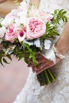 Pink and Ivory bridal Bouquet | Kristin Spencer Photography | Theknot.com