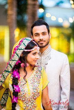 Mehndi night photography, bride and groom portraits, Pakistani bride Photo By…