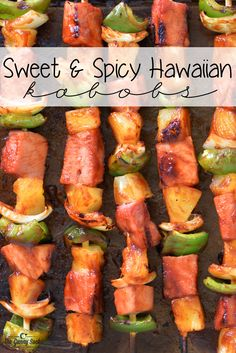 This Sweet and Spicy Hawaiian Grilled Kabobs recipe is easy to make with ham, pineapple, green peppers and onions brushed with pineapple grilling sauce. #MussAppleButter #ad
