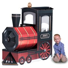 Our Personalized Locomotive Prop is perfect for your little engineer's birthday. This prop includes a classic steam engine and will even feature your own wording. Trains Birthday Party, 6th Birthday Parties, 3rd Birthday, Train Station Clock, Train Party Decorations, Red And Black Background, Polar Express Party, Personalized Banners, Birthday Background
