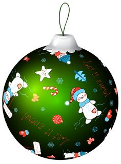 Green Christmas Ball With Snowman PNG Clip Art Image