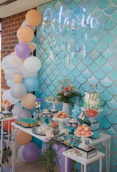 Mermaid Theme Party Supplies - Lifes Little Celebration First Birthday Parties, Birthday Party Decorations, First Birthdays, Party Themes, Party Ideas, Little Mermaid Parties, The Little Mermaid, Mermaid Theme Birthday, Mermaid Themed Party