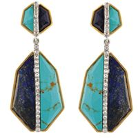 Kara Ross: Double Geo Arrow earrings in sterling silver with 18k gold, lapis, turquoise, and white sapphires