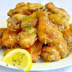 These Honey Lemon Glazed wings are baked and not fried with a sticky, tangy, unexpected glaze that everyone loves. Great for party buffets or pot-lucks.