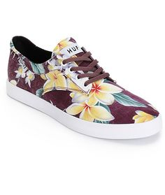 Throw on a tropical style with an all over aloha floral print on a maroon textile upper with an odor and fungus inhibiting moisture-wicking Ortholite insole for comfort