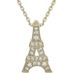 Diamond-Accent 10K Yellow Gold Eiffel Tower Mini Pendant Necklace (335 SGD) ❤ liked on Polyvore featuring jewelry, necklaces, long necklaces, long gold necklace, gold pendant necklaces, gold jewellery and cable chain necklace