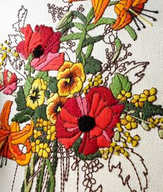 ♒ Enchanting Embroidery ♒ embroidered Crewel Bouquet