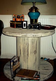Artistic Icing: Wooden Spool End Table ... my latest DIY idea from Pinterest