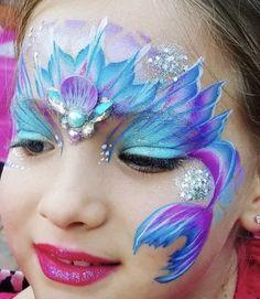 Mermaid tail crown - Make Up Princess Face Painting, Girl Face Painting, Face Painting Designs, Painting For Kids, Body Painting, Mermaid Face Paint, Mermaid Makeup, Festival Paint, Christmas Face Painting
