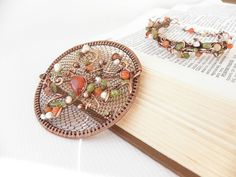 Carnelian round brooch  spring trend jewelry, copper brooch with flowering branch,branch jewelry