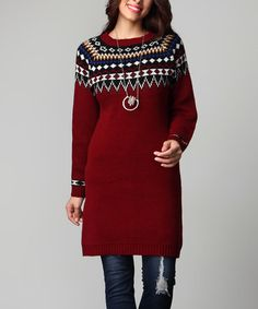 Another great find on #zulily! Burgundy Border Knit Sweater - Plus #zulilyfinds