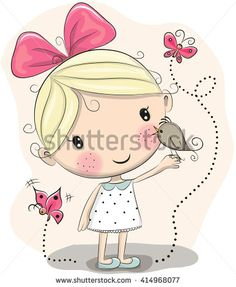 Cute Cartoon Girl with bird and butterflies on a pink background