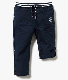 Pantalon bermuda en toile taille élastiquée pour bébé Bleu
