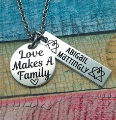 Adoption Gift, Custom Adoption Necklace, Love Makes A Family, Adoption day gift, Adoptive Foster Parent, Personalized Adoption Jewelry