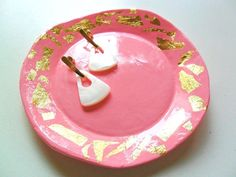 Handmade golden pink ring dish/ Prato de jóias by TheFormaClay