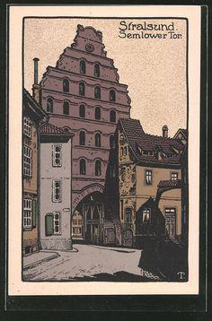 Alte Ansichtskarte: Steindruck-AK Stralsund, Semlower Tor