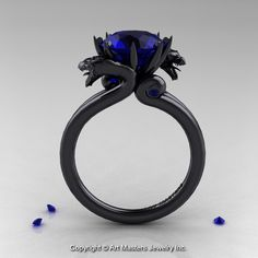 Modern Dragon 14K Black Gold 3.0 Ct Blue Sapphire Engagement Ring R601-14KBGBS-1