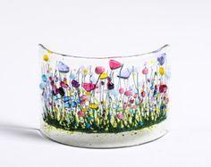 Handmade Fused Glass Art Cornflowers Curve by PamPetersDesigns