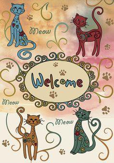 Meow Welcome Garden Flag - Fly-Me Flag