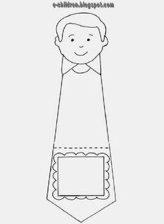 Στο πλαίσιο κολλάμε  φωτογραφία του παιδιού. Το κάθε παιδί διαλέγει το γραβατομπαμπά που θέλει και χρωματίζει ανάλογα. Αν θέλουμε τσακίζουμε στο σημείο με τη διακεκομμένη γραμμή