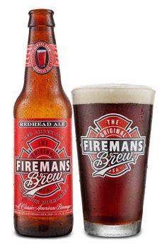 Fireman's Brew Redhead Ale bottle with logo pint glass