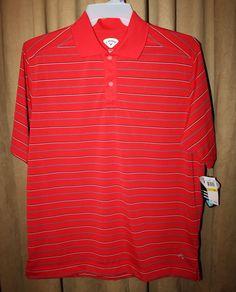 Mens Size M Callaway Polo/Golf Shirt Red w/Stripes Short Sleeve NEW NWT | eBay