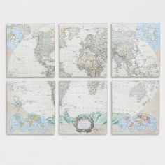 One of my favorite discoveries at WorldMarket.com: Six-Piece World Map Set, Set of 6 $179.99