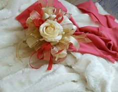 Coral and cream prom corsage set from Hen House Designs www.henhousedesigns.net