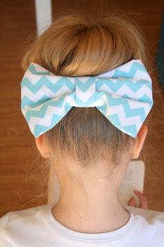 Big Hair Bow, Blue Chevron, Hair Clip in Osage blue