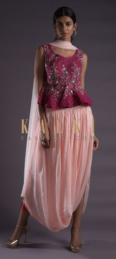 Baby pink skirt in satin crepe with cowl drape. Paired with a contrasting rosewood pink peplum top in raw silk. Salwar Kameez, Evening Gowns, Cowl, Sequin Skirt, Straight Cut, Formal Dresses, Skirts, Festive, Peplum