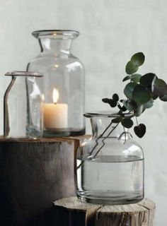 Pair simple candlelight with stems of scented eucalyptus as winter approaches Wabi Sabi, Bottles And Jars, Glass Bottles, Interior Styling, Interior Decorating, Decoration Inspiration, Candle Lanterns, Color Of Life, Feng Shui