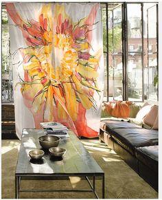 Three Hand Painted Silk Curtains - SUNFLOWER