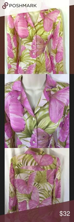 Tommy Bahama Womens Blouse Silk Tropical Butterfly Tommy Bahama Womens Blouse 100% Silk Tropical Butterflies Sz 2 XS P Tommy Bahama Tops Blouses