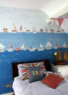 paper boats wallpaper & union jack pillow