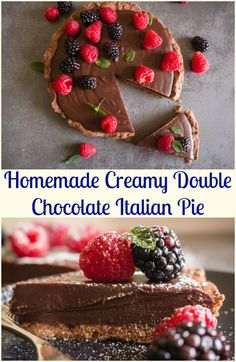 Chocolate Italian Pie is an easy, delicious double chocolate pie, made with a chocolate crust and a creamy smooth filling.  Perfect. via @https://it.pinterest.com/Italianinkitchn/