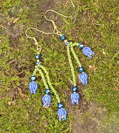 Bluebell Earrings blue and green