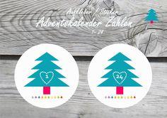 sticker  aufkleber adventskalender basteln adventskalender diy adventskalender zahlen 1-24 weihnachten