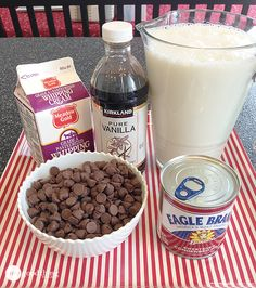 Crockpot hot chocolate:  heavy whipping cream, sweetened condensed milk, milk, vanilla, chocolate chips