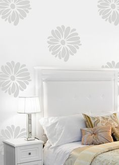 Vinyl Wall Sticker Decal Art - Pretty Flower Pattern Wallpaper Look — Removable Wall Decals & Stickers by My Friend Matilda White Wall Bedroom, White Walls, Bedroom Decor, Wall Decor, Silver Bedroom, Bedroom Bed, Removable Wall Decals, Vinyl Wall Stickers, White Wall Stickers