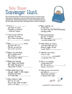 13 printable rhyming baby shower scavenger hunt clues