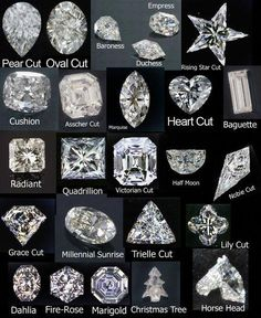 Round This is by far the most popular shape of diamond and has been around for hundreds of years. The diamond cutters have been working wi. Types Of Diamond Cuts, Types Of Diamonds, Diamond Shapes, Diamond Cut Chart, Rose Cut Diamond, Colored Diamonds, Bijoux Design, Schmuck Design, Jewelry Design