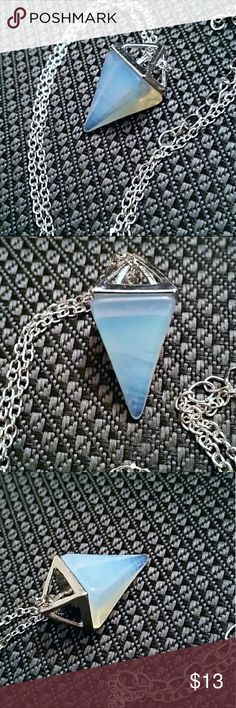 Opalite crystal pyramid necklace *Gorgeous opalite crystal pyramid necklace  *4 sided pyramid shape with silver tone setting and chain  *new without tags  *crystal is about 1.25 inches,  it's pretty thick and heavy   Fashion, trendy, festival, boho, bohemian, Hippie, grunge, hipster, wicca, pagan, magic, charm, metaphysical, healing, point, reiki, chakra, pendulum, witch, stud, meditation, alternative, peace, collection, rituals, protection gemstone Jewelry Necklaces
