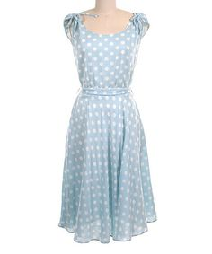 Another great find on #zulily! Blue Polka Dot Tie Midi Dress #zulilyfinds