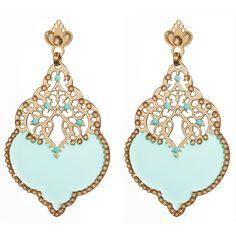 Leetal Kalmanson Mint Green enamel and Swarovski crystal earrings