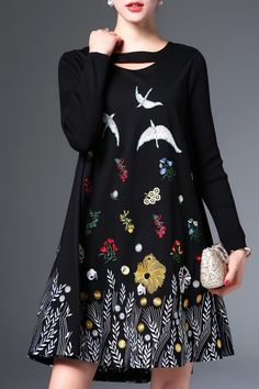 Long Sleeve Embroidered Mini Dress