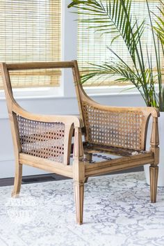 Simple steps to achieve gorgeous whitewashed wood Chair makeover How To Whitewash Finish - Cane Chair Refinishing Makeover Chair Upholstery, Upholstered Chairs, Arm Chairs, Office Chairs, Accent Chairs, Chair Cushions, Pink Chairs, Beach Chairs, Chair Makeover