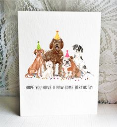 Available on Etsy, featuring a Hungarian Vizsla, Westie, Labradoodle, English Bulldog, and English Pointer dogs. By Driven to Ink.