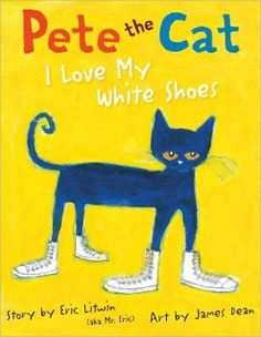 Pete the Cat.  I read this book to several pre-k classes last week and they all loved it!  We were laughing and singing the song in the book together.  So much fun!!  I especially love the moral of the story-it makes me laugh every time I read it.