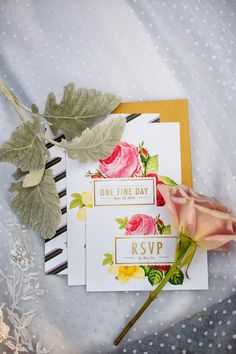 Lovely modern floral wedding invitations | Duo of Chic Bridal Looks At Historic Berkeley Plantation Wedding | Photograph by Bob Schnell Photography  http://storyboardwedding.com/chic-bridal-looks-historic-berkeley-plantation-wedding/